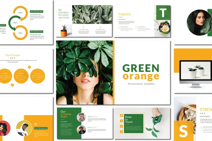Thumbnail for Green Orange - Powerpoint Template