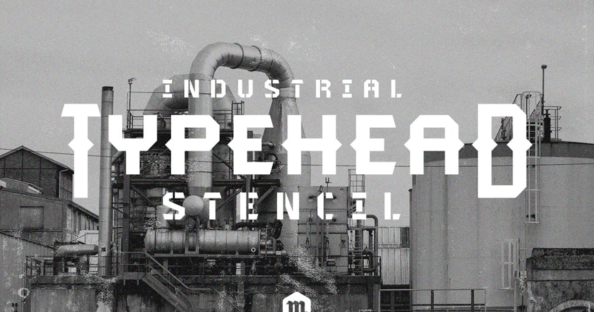 Download Typehead Typeface Industrial Stencil Font by Mihis_Design