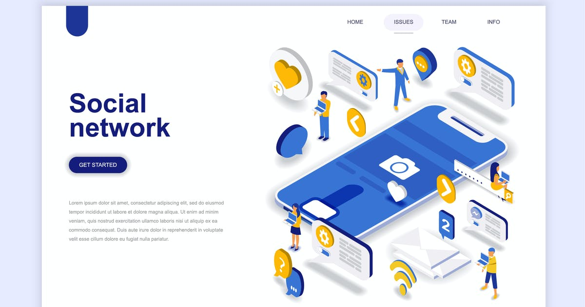 Download Social Network Isometric Landing Page by alexdndz
