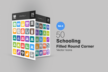 50 Schooling Flache Runde Ecke Icons