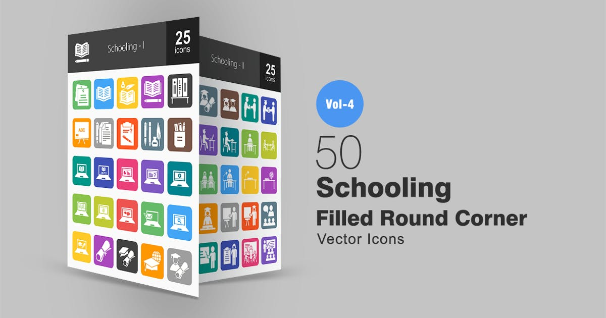 Download 50 Schooling Flat Round Corner Icons by IconBunny