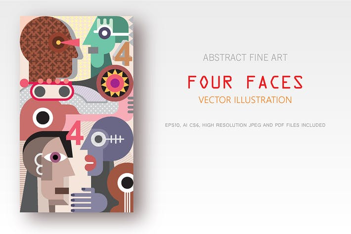 Thumbnail for Four Faces vector illustration