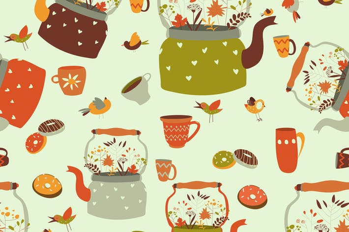 Seamless pattern background with tea