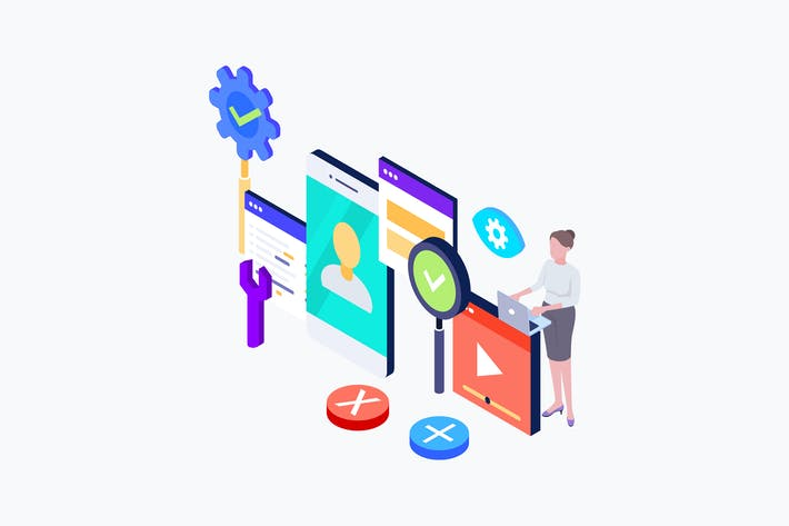 Thumbnail for UI Ux Design Isometrische Illustration