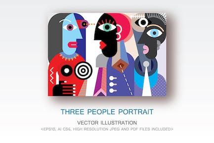 Три человека портрет вектор иллюстрация