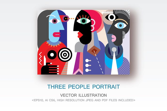Thumbnail for Three People Portrait vector illustration