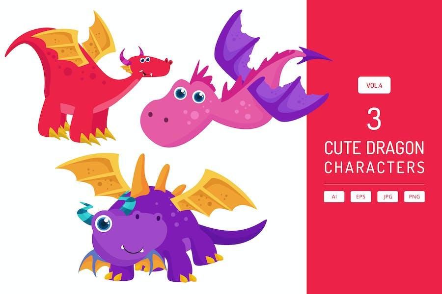 Cute Dragon Characters Vol.4
