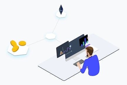 Trade Cryptocurrency Isometric - THM