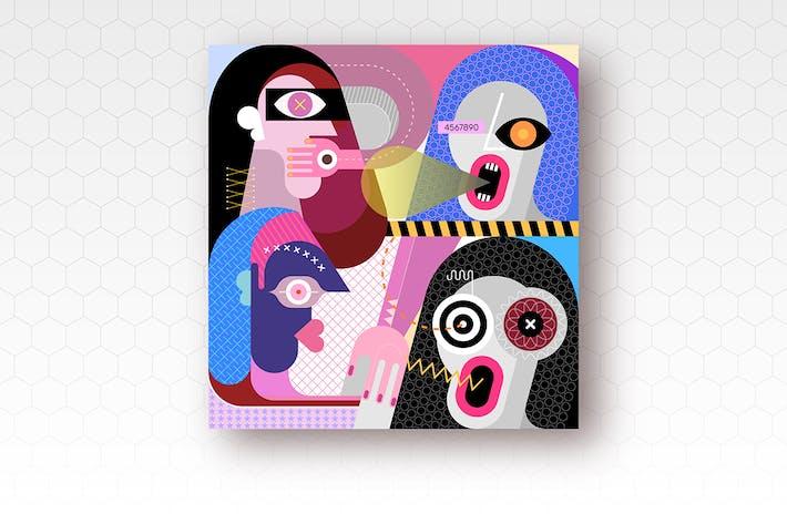вектор иллюстрация четырех человек
