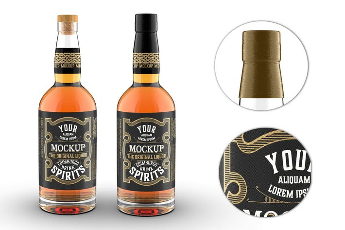 Thumbnail for Clear Glass Whiskey Bottle Mockup