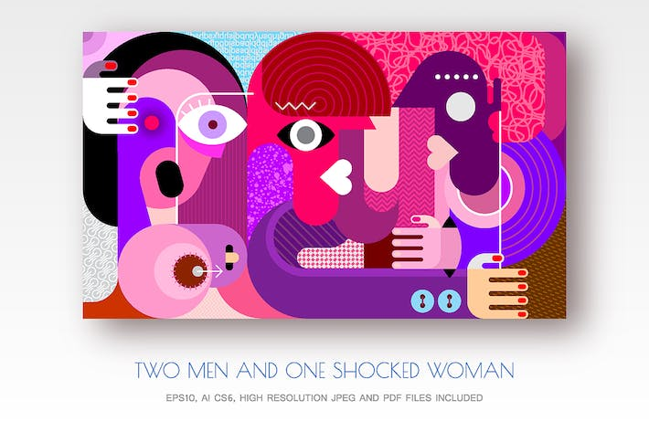 Thumbnail for Two men and one shocked woman vector illustration