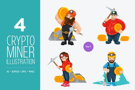 Crypto Currency Miner Vector Character Set 1