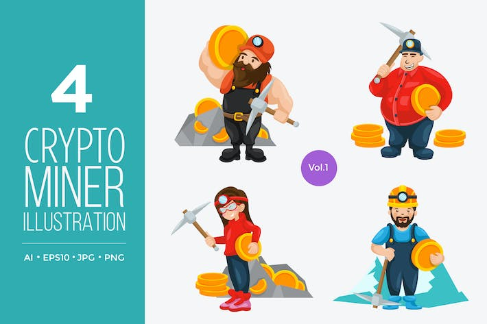 Thumbnail for Crypto Currency Miner Vector Character Set 1