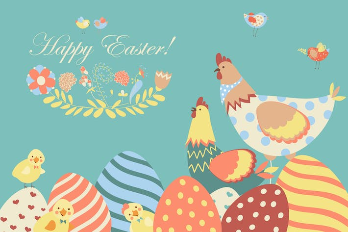 Thumbnail for Easter chicken with easter eggs. Vector