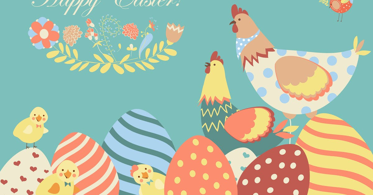 Download Easter chicken with easter eggs. Vector by masastarus