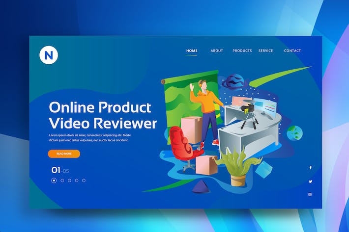 Thumbnail for Online Product Review Web Header PSD and AI Vector