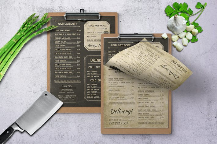 Retro Vintage Single Page Menu A4 & US Letter by Novocaina