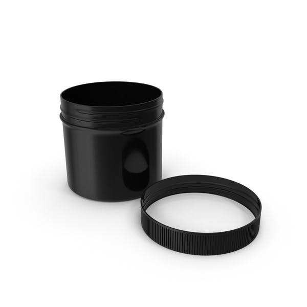 Black Plastic Jar Wide Mouth Straight Sided 4oz Cap Laying