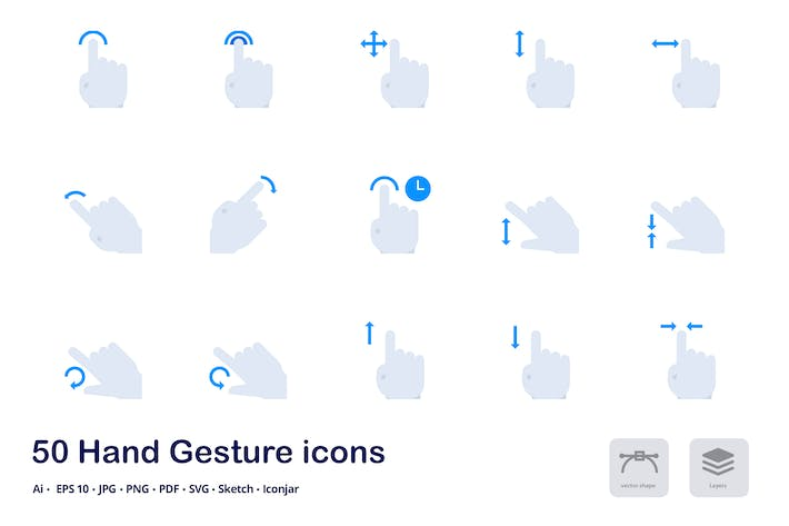 Thumbnail for Hand Gestures Accent Duo Tone Flat Icons