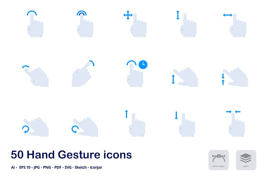 Hand Gestures Accent Duo Tone Flat Icons