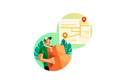 Courier Deliver Goods Using an Online Map