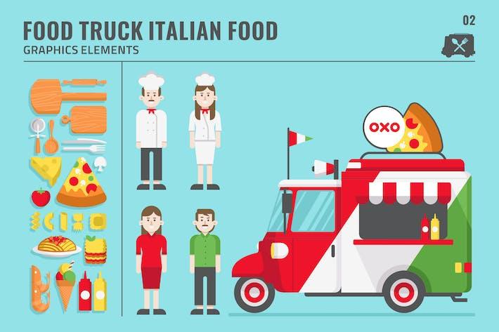 Thumbnail for AMAZING ITALIAN FOOD TRUCK GRAPHICS ELEMENTS SET