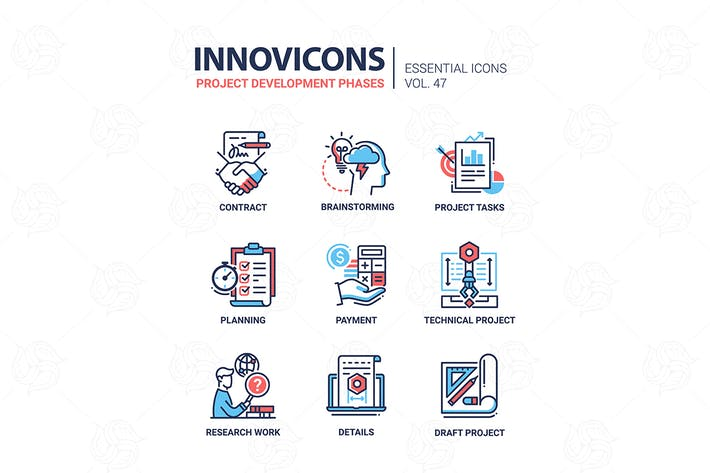 Cover Image For Project Development Phases - line design icons set