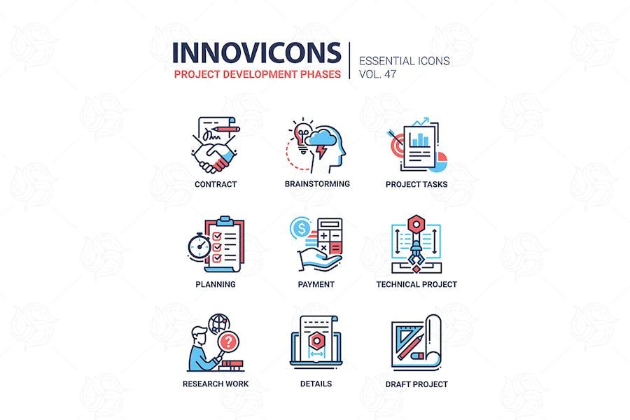 Project Development Phases - line design icons set