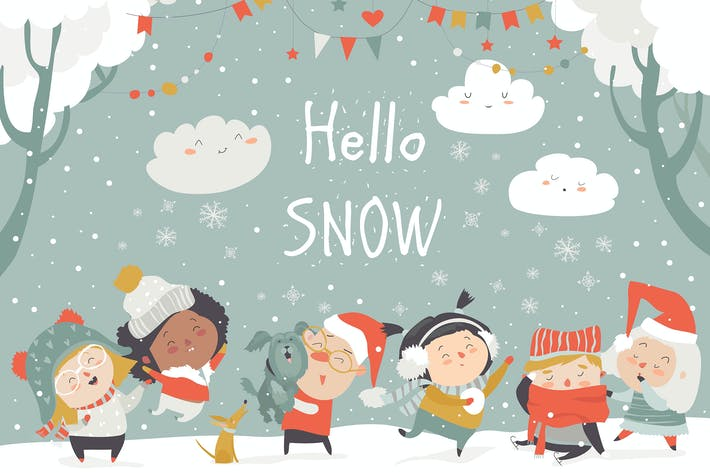 Thumbnail for Cartoon happy children enjoying winter. Hello snow