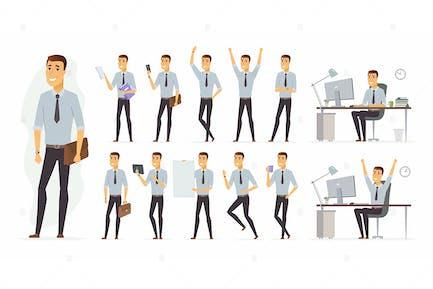 Cheerful businessman - cartoon character set
