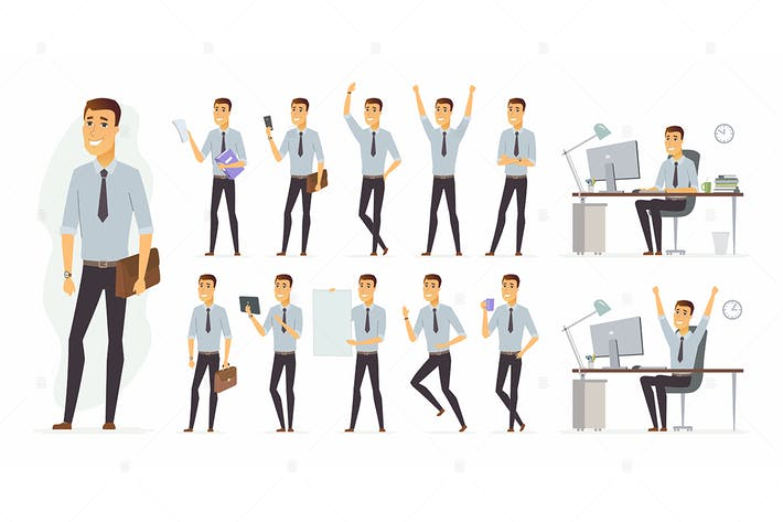 Thumbnail for Cheerful businessman - cartoon character set