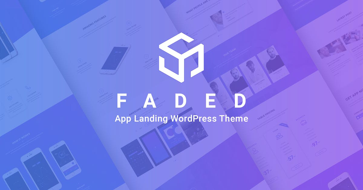 Download Faded - Mobile App Landing Page WordPress Theme by DroitThemes