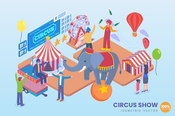 Thumbnail for Isometric Circus Show Vector Concept