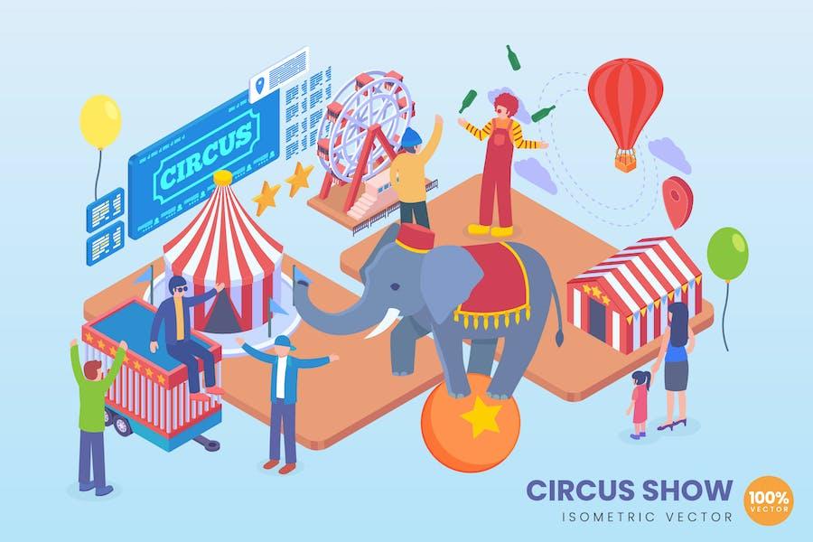 Isometric Circus Show Vector Concept