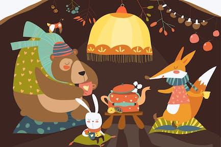 Bonito oso con conejo y zorro celebrando Christma