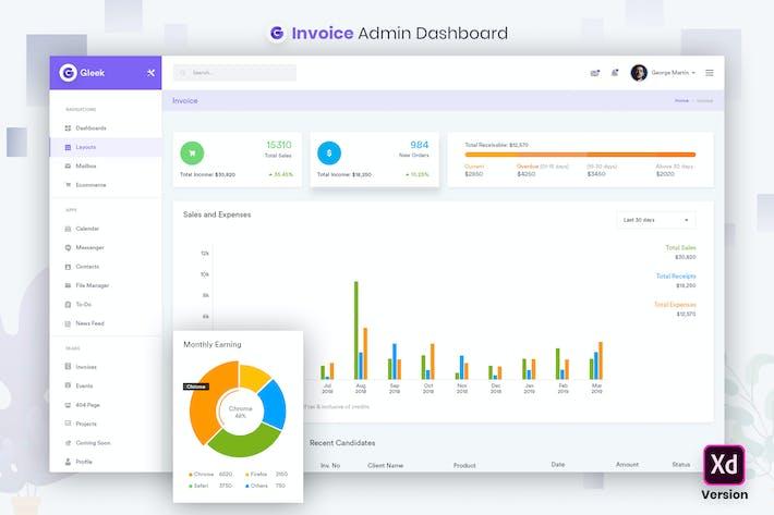 Thumbnail for Dashboard-UI-Kit für Rechnungsverwaltung (XD)