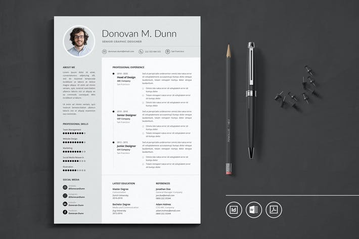 Thumbnail for Professional CV Resume Indesign Template Vol.37