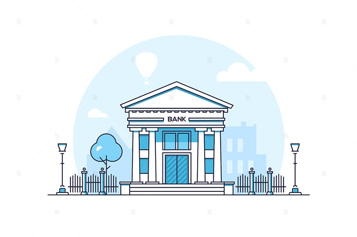 Thumbnail for Bank - thin line design style vector illustration