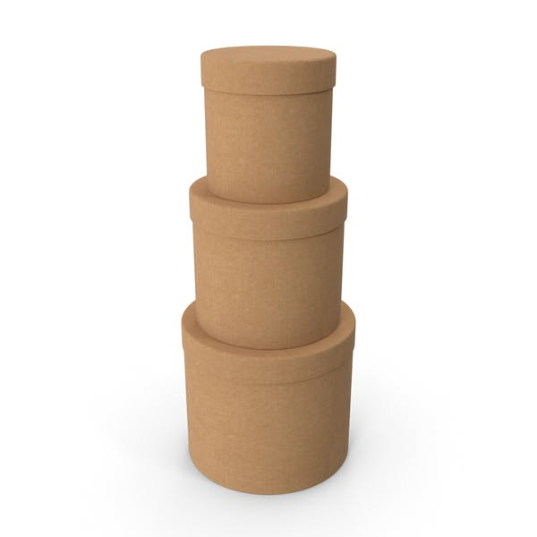 Three Round Cardboard Boxes
