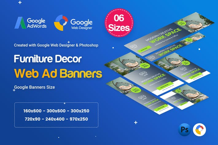 Thumbnail for Furniture Decor Banners HTML5 D45 Ad - GWD & PSD