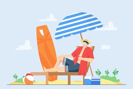Vacaciones de verano y playa   Ilustración Vector