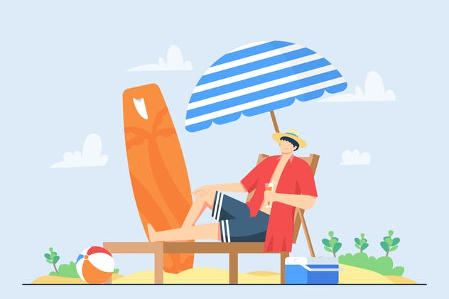 Summer Holiday and Beach   Vector Illustration