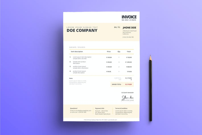 Thumbnail for Invoice Business with Pale Yellow Color