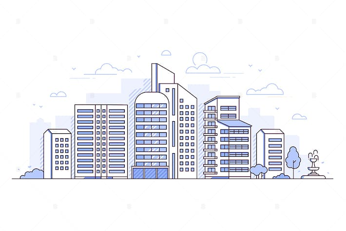 Thumbnail for Modern city - thin line design style illustration