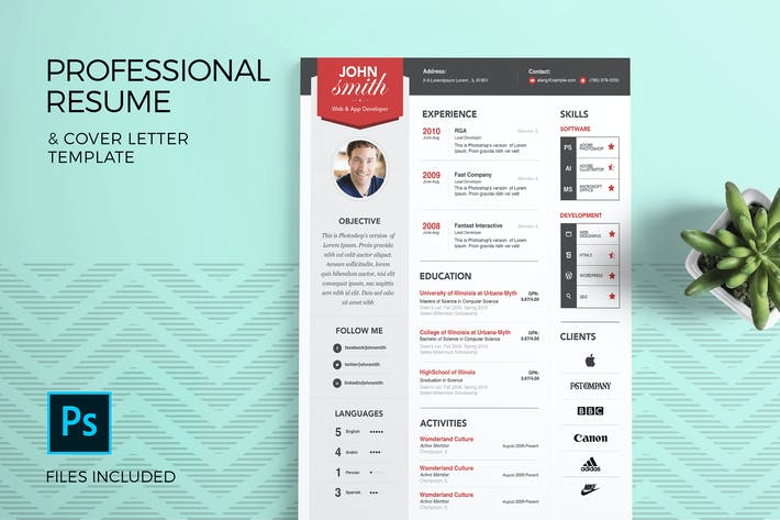 Thumbnail for Professional Resume Template & Cover Letter