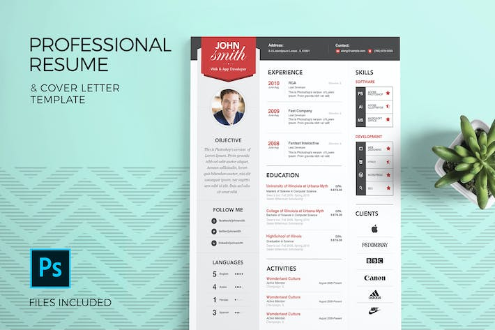 Cover Image For Professional Resume Template & Cover Letter