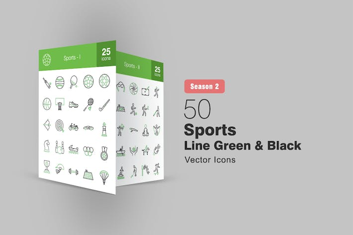 Thumbnail for 50 Sports Line Green & Black Icons Season II