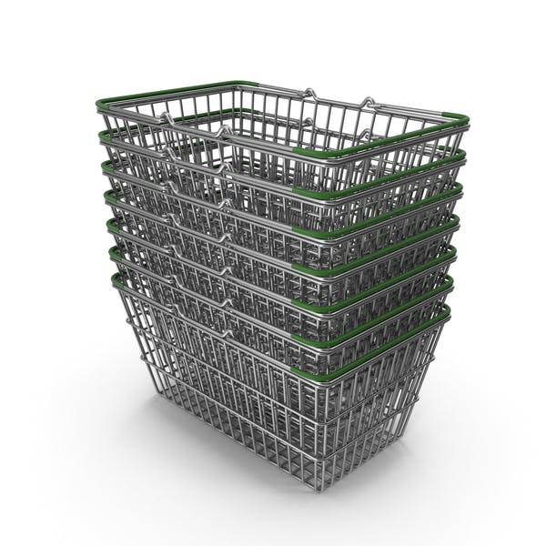 Stack of Supermarket Baskets with Green Plastic