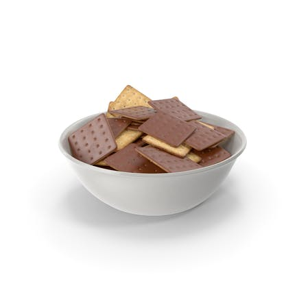 Bowl with Chocolate Covered Square Crackers