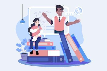 The girl learn online math tutoring